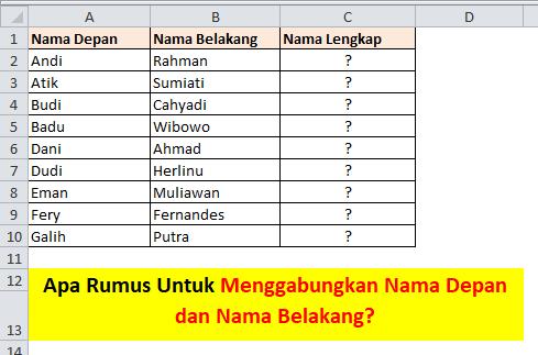 Tabel Excel Nama Depan dan Belakang