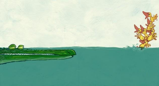 Ilustração do livro Sete Patinhos na Lagoa, escrito por Caio Riter e ilustrado por Laurent Cardon.