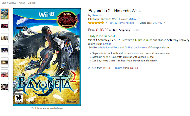 Bayonetta 2 first print edition Amazon Wii U bundle