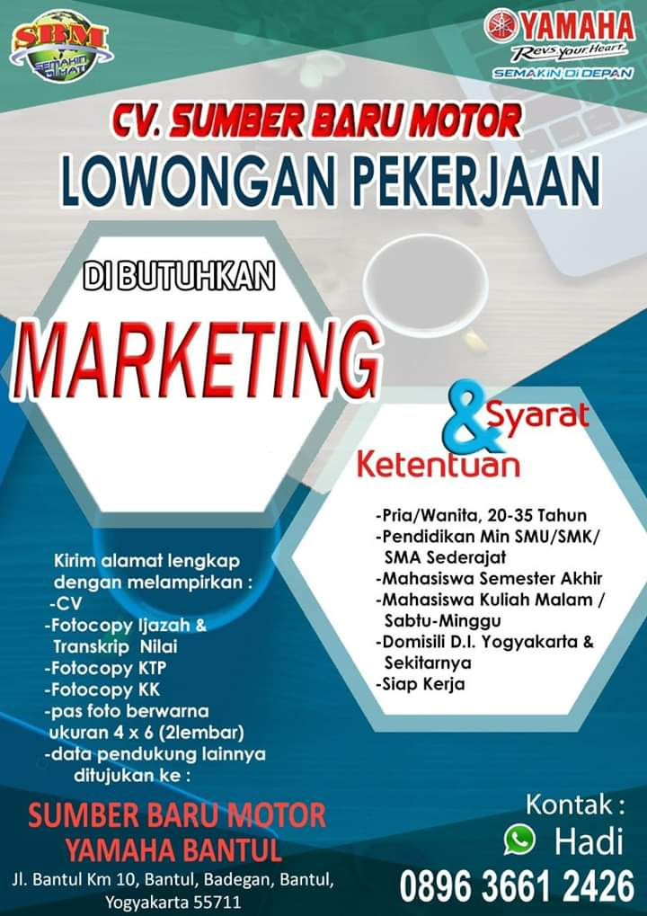 Lowongan Kerja Marketing Yamaha Sbm Yogyakarta Loker Swasta