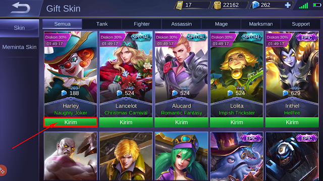 Cara Mengirim (Gift) Skin Mobile Legends ke Teman 3