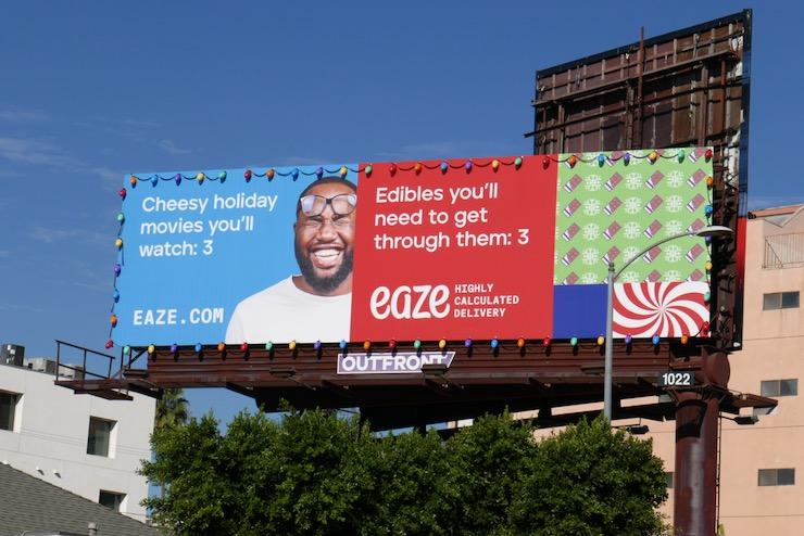 Cheesy holiday movies Eaze billboard