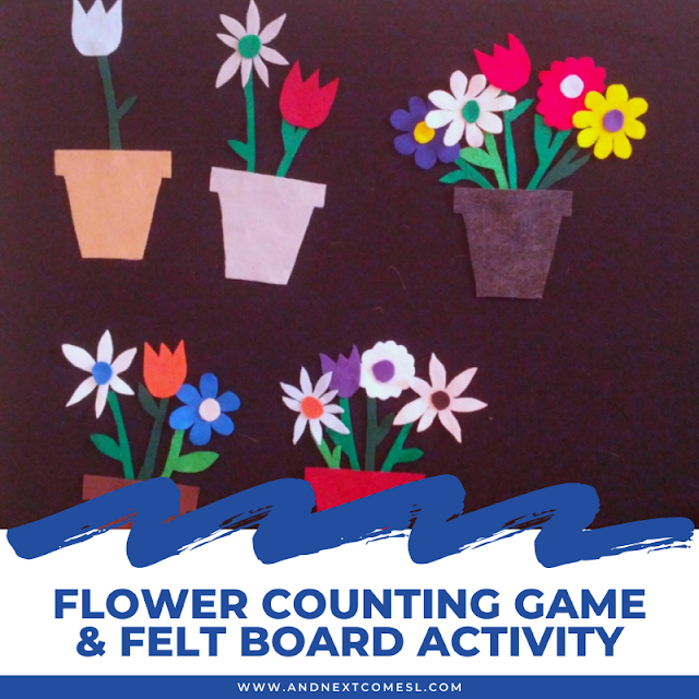 Preschool flower counting game and felt board activity