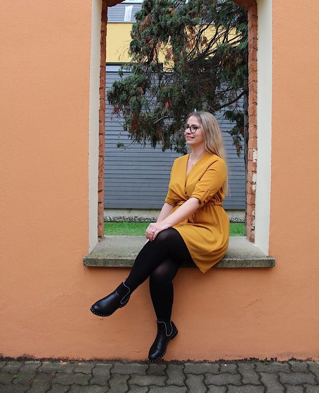 winterliches Outfit, Kleid
