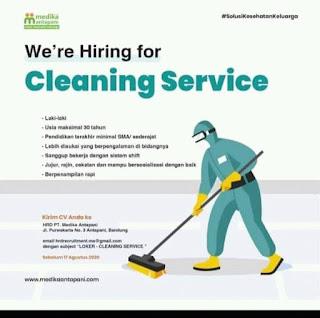Lowongan Kerja Cleaning Service di PT Medika Antapani Bandung Agustus 2020