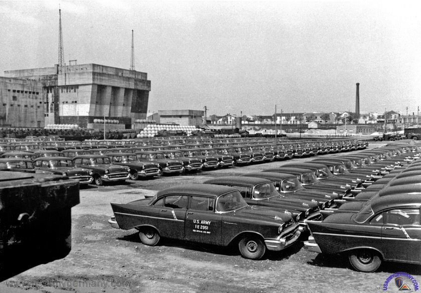 Just A Car Guy: US Army motor pool of 57 Chevys in Germany