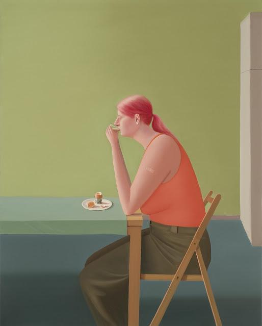 Prudence Flint, pinturas, imagenes de soledad femenina bonitas, chidas de arte inspirador, mujer desayunando,