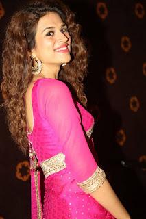 Actress Shraddha Das Stills in Pink Saree at Savitri Audio Launch  0035.jpg