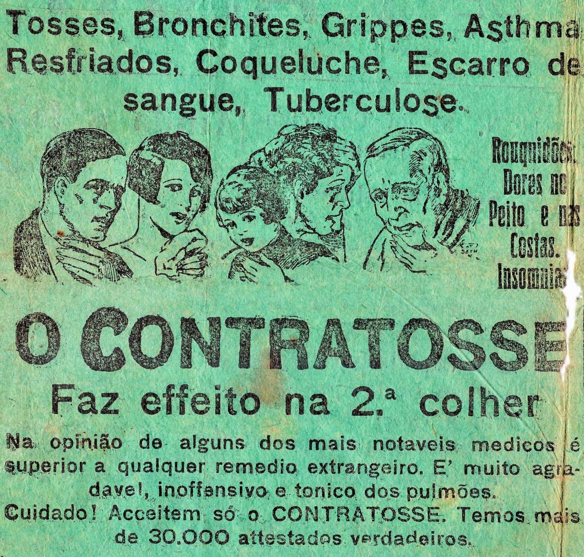 Anúncio de 1932 do Xarope Contratosse que prometia a cura da tuberculose