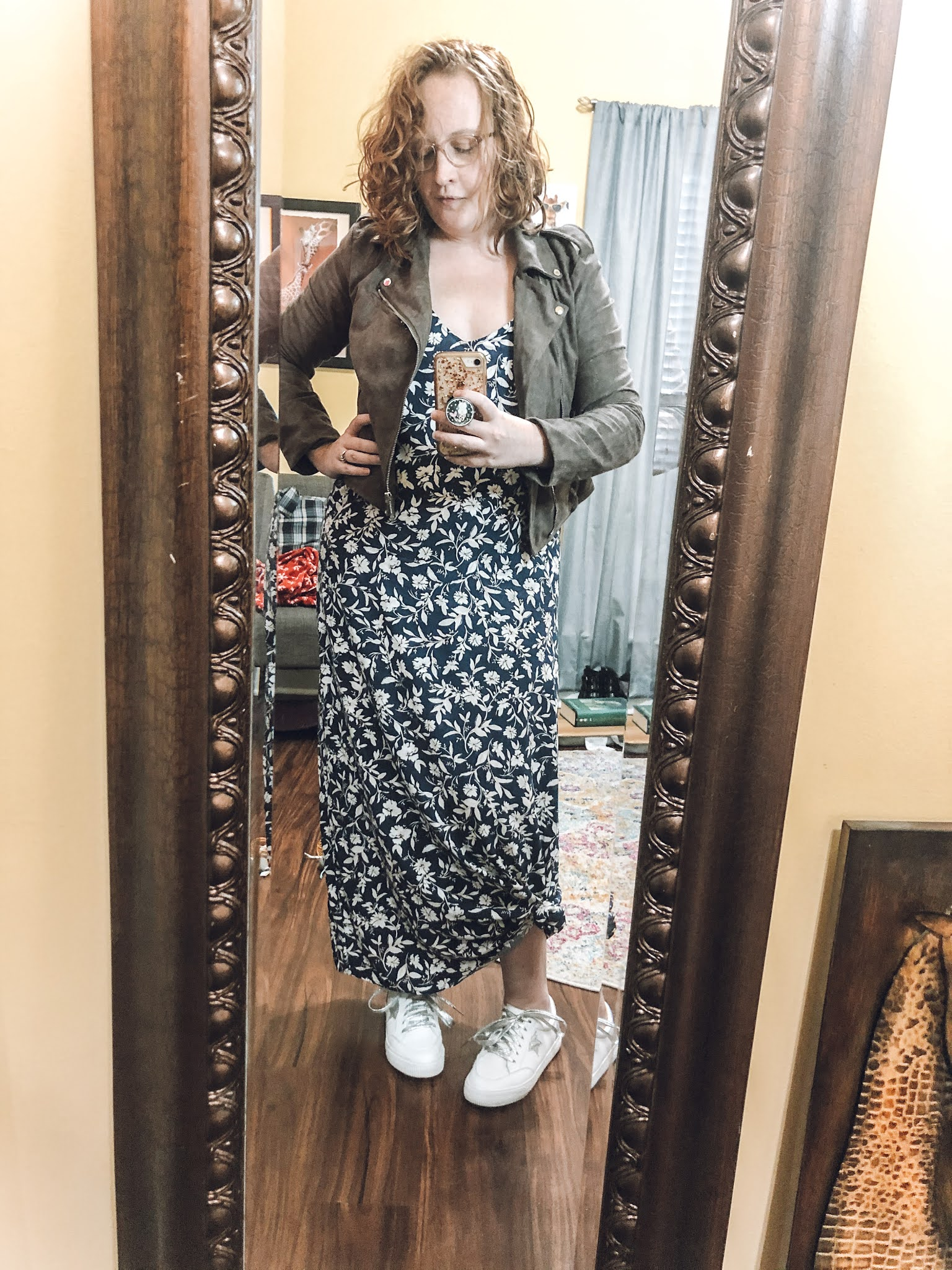 blue-floral-maxi-dress-taupe-moto-jacket-sneakers