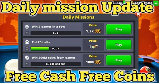 Daily Missions coins 8 ball pool Free