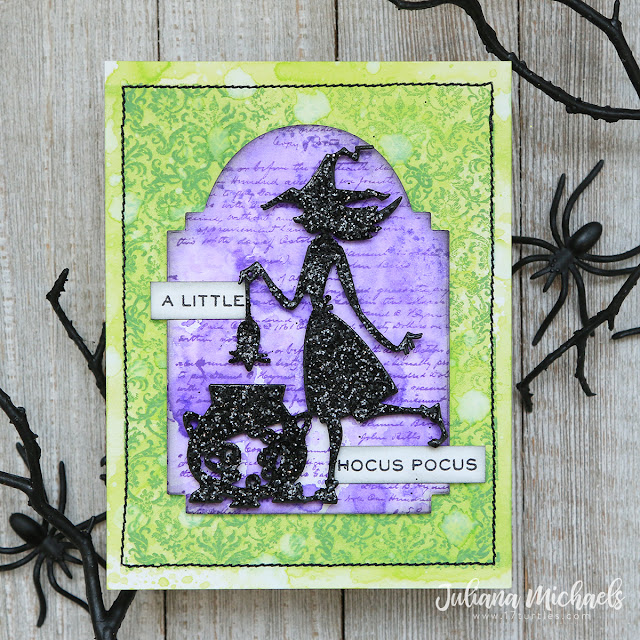 Hocus Pocus Halloween Card by Juliana Michaels featuring Tim Holtz Sizzix Halloween Toil & Trouble Thinlits