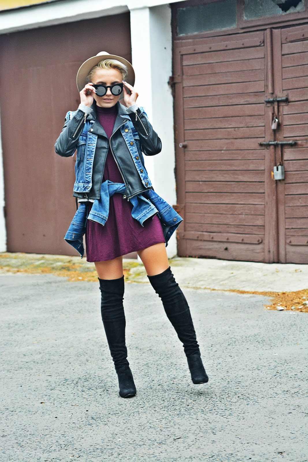 burgundy_dress_biker_jacket_high_knee_boots_karyn