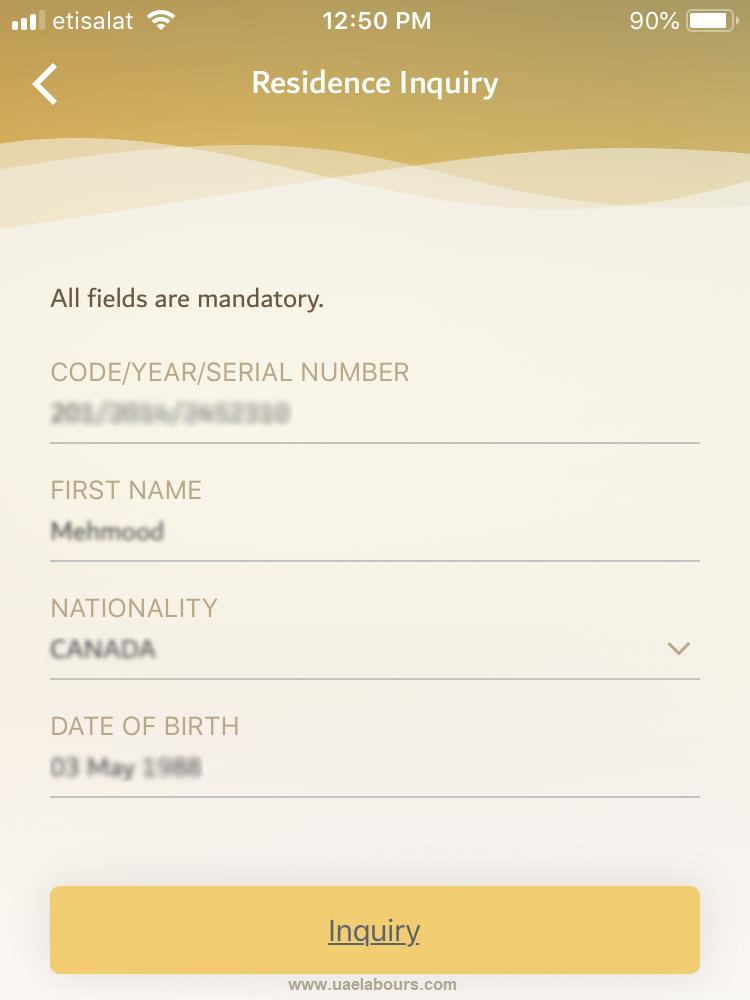 check uae visa status online