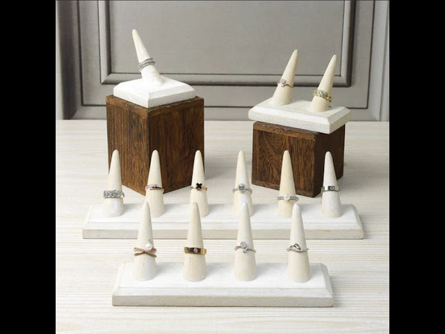 White Wooden Finger Ring Holder Stand Jewelry Displays from Nile Corp