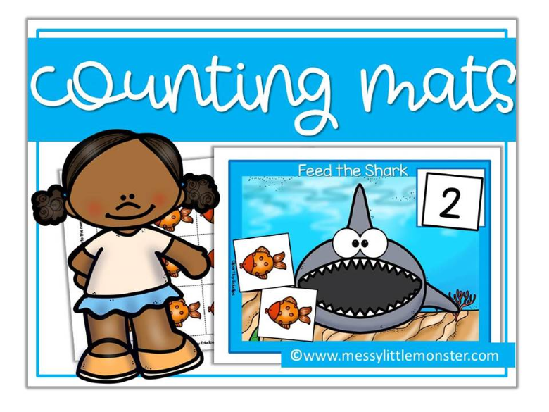 shark themed counting activity for preschoolers. shark week.
