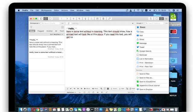 التطبيق الأول Drafts للكتابة على الماك بوك