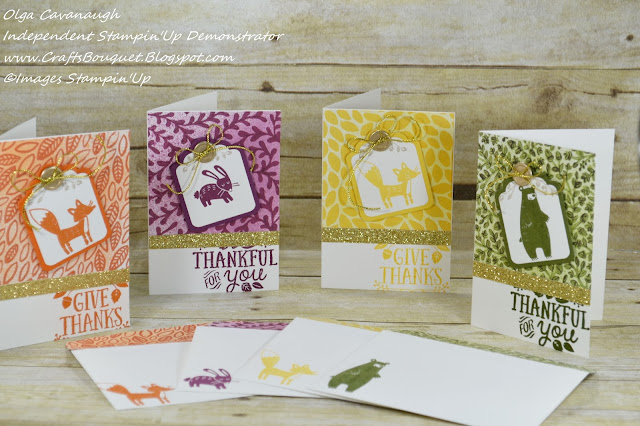 Crafts bouquet stampin 39 up thankful forest friends note for Friendship crafts for 2 year olds