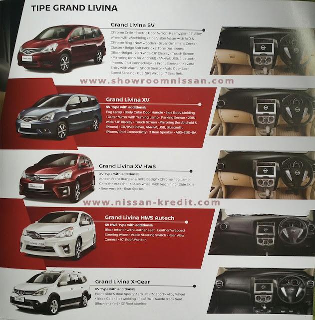 Perbedaan Nissan Grand Livina Tipe SV, XV, HWS, Autech dan Xgear
