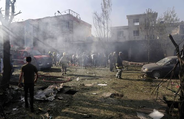 Image Attribute: The Site of the VBIED* Suicide Attack in Kabul, Afghanistan / Source: Twitter