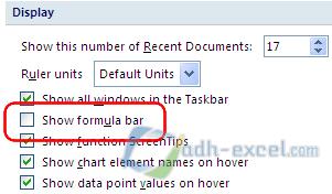 menampilkan formula bar melalui excel option