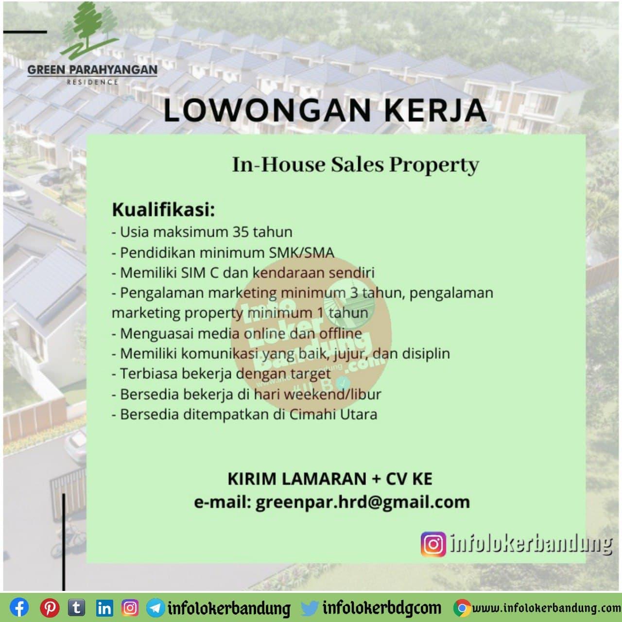 Lowongan Kerja In House Sales Property Green Parahyangan Bandung Januari 2021 Info Loker Bandung 2021
