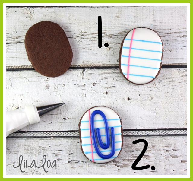 Decorated Sugar Cookies for Back to School that look like paperclips -- tutorial!!