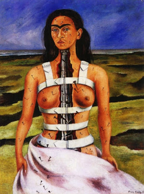 Waist height self portrait of Kahlo. Topless but chest is open to reveal a metal spine.