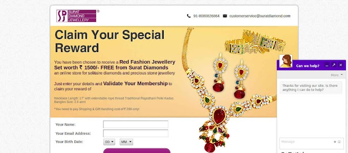 ( Loot ) Surat Diamond Loot - Get Rs 1500 Worth Jewellery Set For Free + ( Rs 299 Shipping Charge)