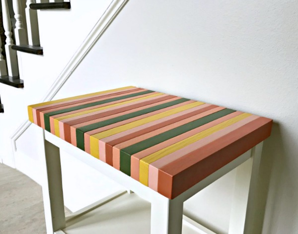 wood color block table top made from 2x4s