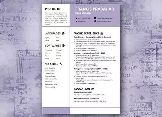 Female Purple Creative Resume Template