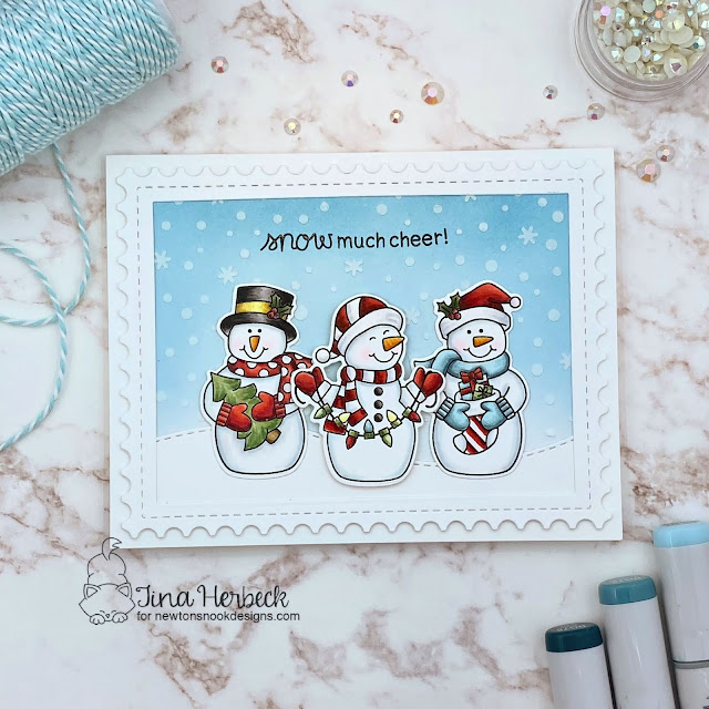 Snowman Christmas Card by Tina Herbeck | Snow Much Cheer Stamp Set, Petite Snow Stencil, and Framework Die Set by Newton's Nook Designs