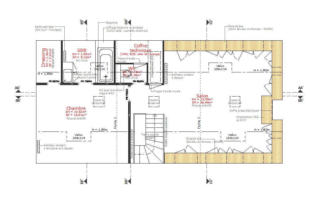 Pascal ponchon architecte d 39 int rieur vannes morbihan bretagne am nagement de combles d 39 une for Plan amenagement maison d