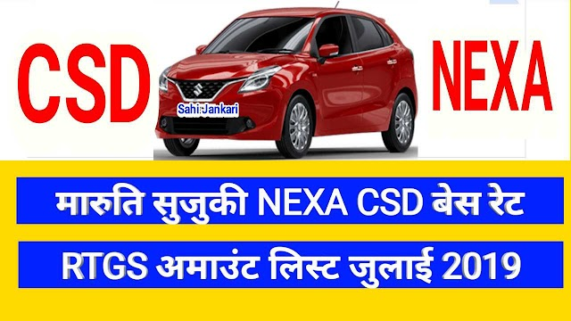 CSD base price and RTGS list Maruti Suzuki Nexa