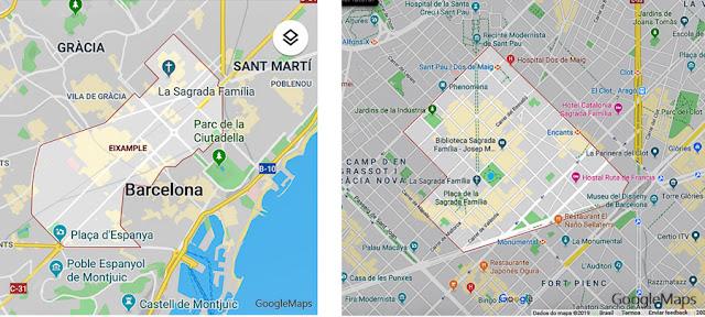 Mapa do Eixample e do Bairro da Sagrada Família, Barcelona