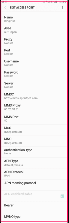 RingPlus APN Settings