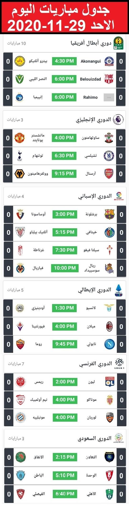 جدول أهم مباريات اليوم الاحد 29-11-2020
