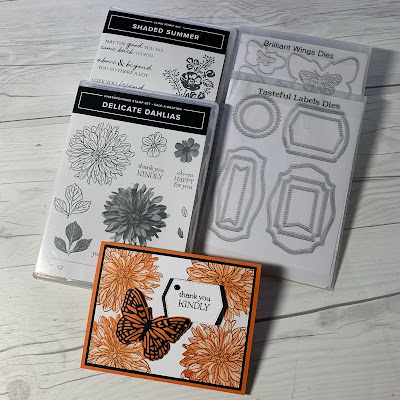 Stamps and Dies used to create a handmade floral greeting card using Stampin' Up! Delicate Dahlias Stamp Set