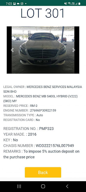 Kereta Mercedes Benz MBS400L Hybrid (2016) kena lelong pada harga Reserved Price RM0