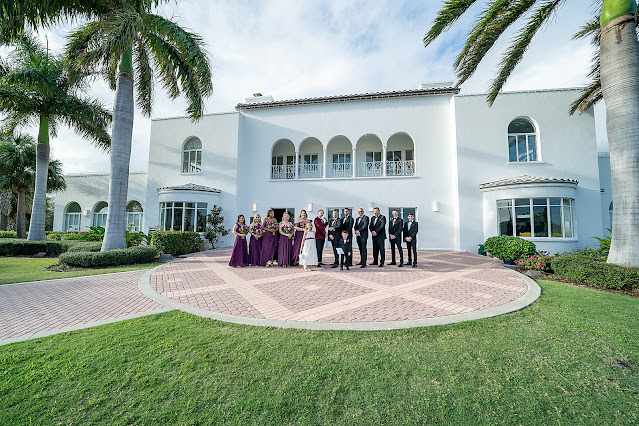 Wedding Party Portraits outside the Mansion at Tuckahoe Jensen Beach FL Wedding Venue