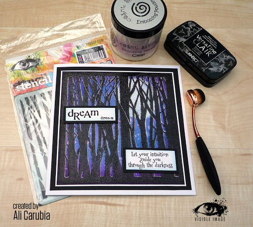 forest stencil | dream sentiment | intuition quote | scene card