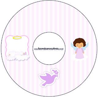 Brunette Angel Girl, Free Printable CD Label.