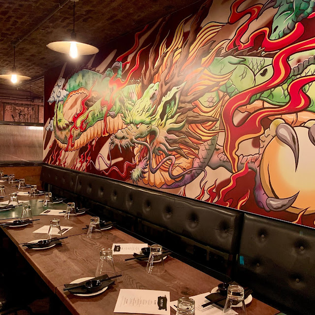dragon mural at Yuu Kitchen, Mayfair, London
