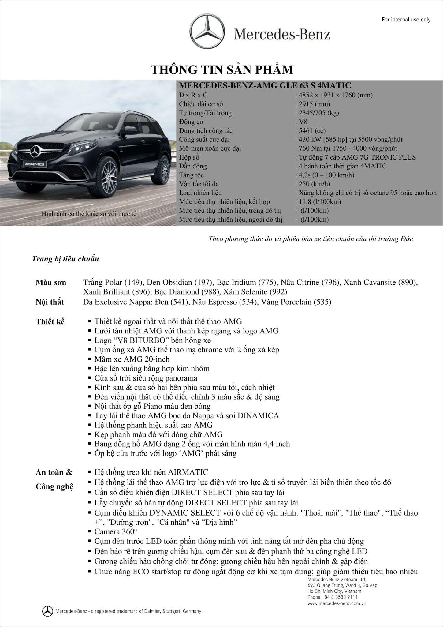 Bảng thông số kỹ thuật Mercedes AMG GLE 63 S 4MATIC 2019