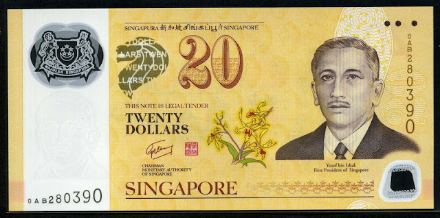 Singapore currency 20 Dollars Commemorative banknote note bill