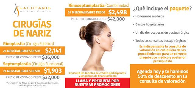 Precio Paquete Cirugia Funcional Nariz Cornetes Tabique Septumplastia Cirugia Estetica Rinoplastia Combinadas Guadalajara Mexico