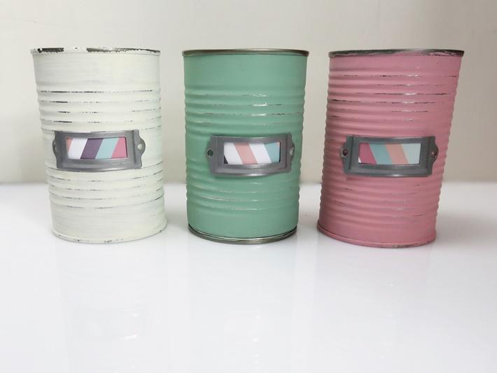 drei Dosen in Pastellfarben - Upcycling - Stiftebehaelter