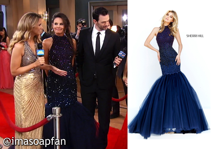 Lucy Coe, Lynn Herring, Navy Blue Ombre Beaded Mermaid Gown, Sherri Hill, Nurses Ball, GH, General Hospital, Season 54, Episode 05/24/16