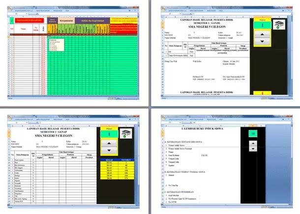 Aplikasi Raport KTSP untuk 1 Tahun (2 Semester)