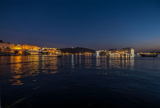 Palaces are letup and cast beautiful reflections in Lake Pichola
